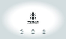 Logo Design Of Black Ant With Variations
