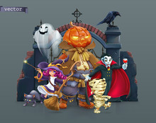 Happy Halloween. Pumpkin Scarecrow, Witch, Mummy, Vampire. 3d Vector Illustration