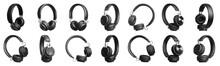 Set Of Modern Black Headphones...