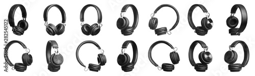 Set of modern black headphones on white background. Banner design Obraz na płótnie