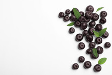 Fresh Acai Berries On White Background, Top View