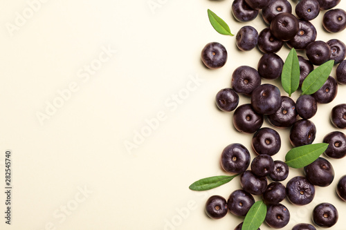 Fresh acai berries with leaves on beige background, flat lay Canvas Print