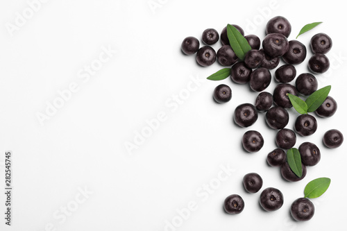 Fresh acai berries on white background, top view Canvas Print