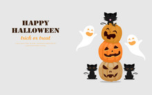 Halloween Greeting Card Concept. Cute Pumpkins Spooky Scary Smile, Little Ghost And Black Cat. Flat Design Vector Illustration.