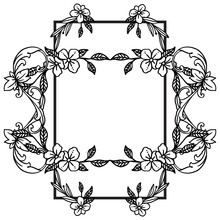 Place For Text, Style Unique And Elegant, For Black White Leaf Floral Frame. Vector