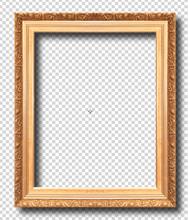 Golden Frame Isolated On Transparent Background