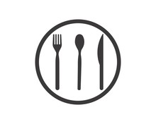 Abstract Logo Of A Cafe Or Restaurant. A Spoon, Knife And Fork On A Plate. A Simple Outline