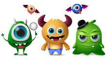 Cute Monsters Vector Character Set. Little Cute Monsters With Scary And Crazy Faces For Design Elements  Isolated In White Background. Vector Illustration.