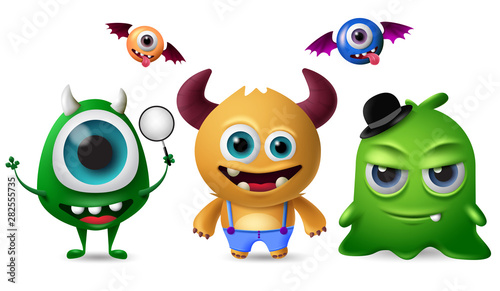 Poster Creatures Cute monsters vector character set. Little cute monsters with scary and crazy faces for design elements isolated in white background. Vector illustration.