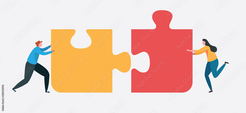 Fototapeta Teamwork connect to successful together concept. The Big jigsaw puzzle