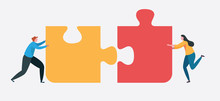 Teamwork Connect To Successful Together Concept. The Big Jigsaw Puzzle