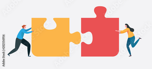 Fototapeta Teamwork connect to successful together concept. The Big jigsaw puzzle obraz