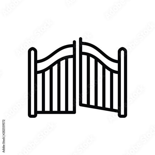 Cuadros en Lienzo Black line icon for gate