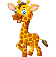 Cute Giraffe Cartoon Isolated ...