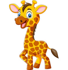 Fototapeta Żyrafa Cute giraffe cartoon isolated on white background