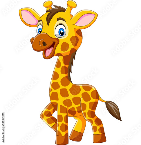 Cute giraffe cartoon isolated on white background Wallpaper Mural