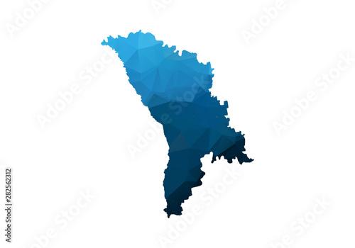 Vector Map - Blue Geometric Rumpled Triangular Tablou Canvas