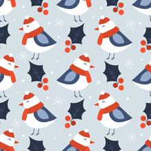 Winter Bird, Snowflakes And Christmas Florals Seamless Pattern Background. Design For Fabric, Wrapping, Textile, Wallpaper, Apparel