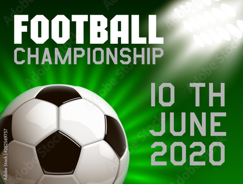 Football Modern Sports Poster Cup Design Banner With 3d Realistic Shiny Ball Football Tournament Illustration Banner Logo Realistic Soccer Ball Posters Design Flyer Set Soccer Championship Template Buy This Stock Vector