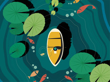 Top View A Man Sits In A Boat And Paddling In Lake That There Are Big Lotus Leaves And A Few Fish In The Lake Too, Flat Line Vector And Illustration.