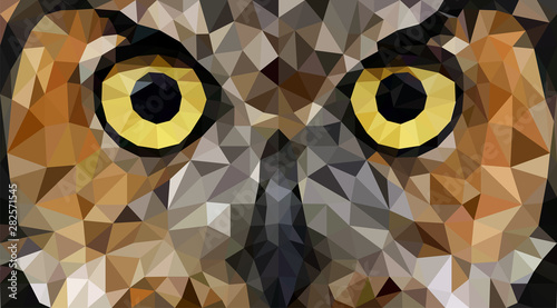 Owl in low poly style Fototapeta