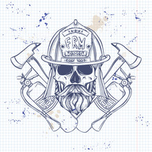 Sketch Fireman Skull