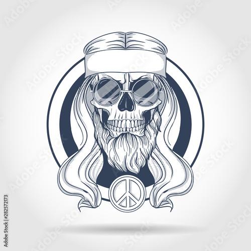 Photo  Hippie skull with hair