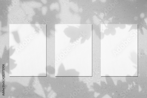 Fototapeta  Three empty white vertical rectangle poster mockups with soft shadows on neutral light grey concrete wall background