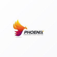 Awesome Gradient Phoenix Logo Design