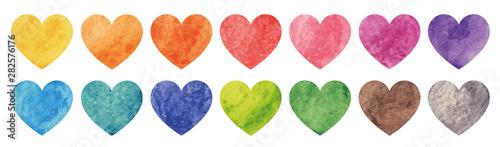 Valokuvatapetti Watercolor heart set