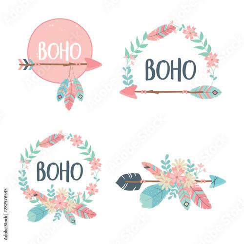 Papel de parede  set of decorations boho style