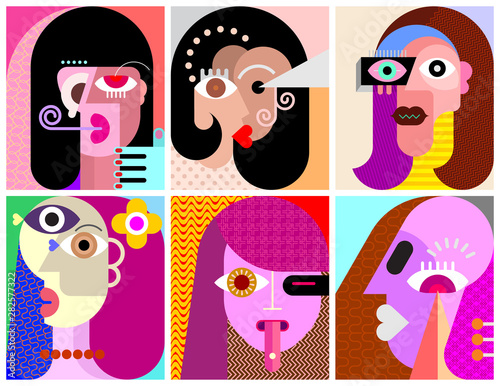 In de dag Abstractie Art Six Portraits / Six Avatars vector illustration