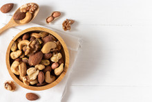 Top View Of Mixed Nuts In A Wo...