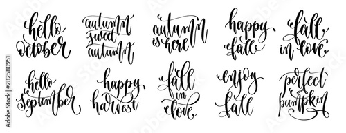 Fotografía  set of 10 autumn quotes, hand lettering inscription text, fall calligraphy colle