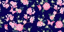 Spring Seamless Pattern With Blooming Sakura, Pink Peonies Plum Branches And Flying Butterflies In Chinese Style