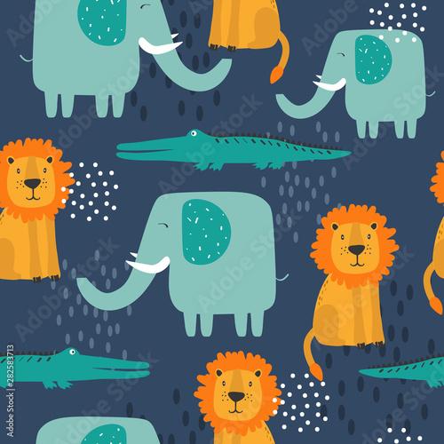 Happy elephants, crocodiles, lions, hand drawn backdrop. Colorful seamless pattern with animals. Decorative cute wallpaper, good for printing. Overlapping background vector