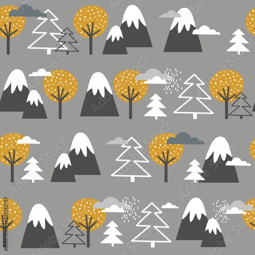 Seamless pattern, mountains, fir trees and trees, hand drawn overlapping backdrop. Colorful background vector. Illustration with forest. Decorative wallpaper, good for printing