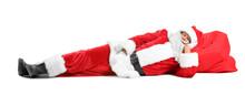 Sleeping Santa Claus On White Background
