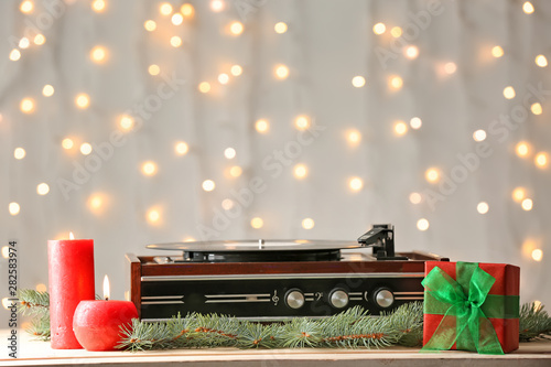 Canvas Print Record player and Christmas decor on table