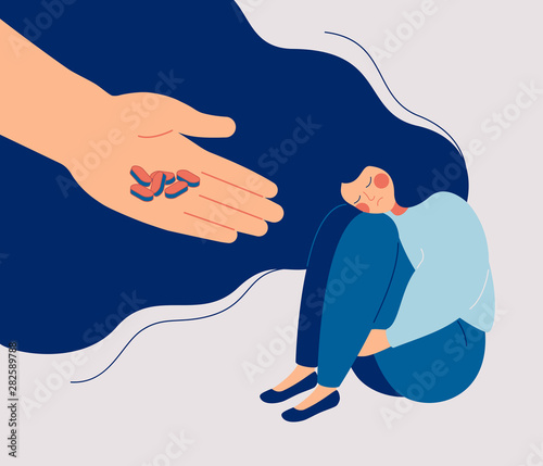 Antidepressant saving woman from depression Wallpaper Mural