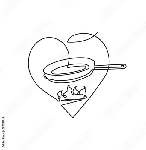 Fototapeta Fring Pan on Fire in Heart Shape. Can be yused like  Badge, Label, Logo, Emblem, Template in your Design Works. One line drawing style. Isolated Vector illustration. obraz
