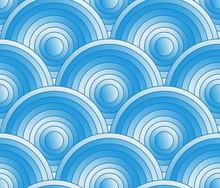 Circular Waves Gradient Seamless Blue White