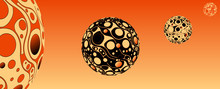 Retro Psychedelic Bubbles Planet System Orange
