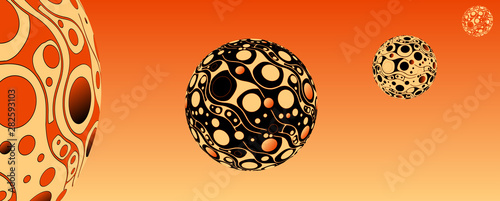 Leinwand Poster retro psychedelic bubbles planet system orange