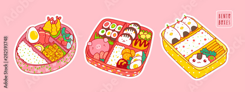 Hand drawn bento boxes. Japanese lunch box. Various traditional asian food. Take-out or home-packed meal. Set of three colored trendy vector illustrations. Kawaii anime design. Pre-made stickers - 282593748