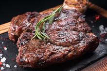 Fried Meat Steak On Slate On A...