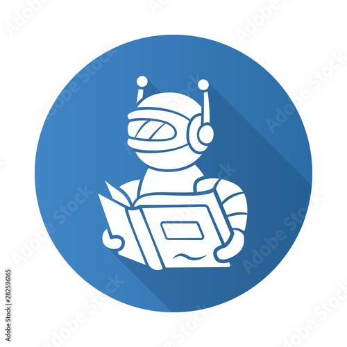 Text reading bot flat design long shadow glyph icon  Screen