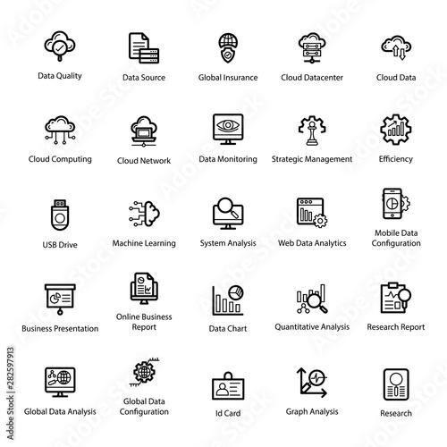 Cuadros en Lienzo  Data Analytics Line Icons Pack