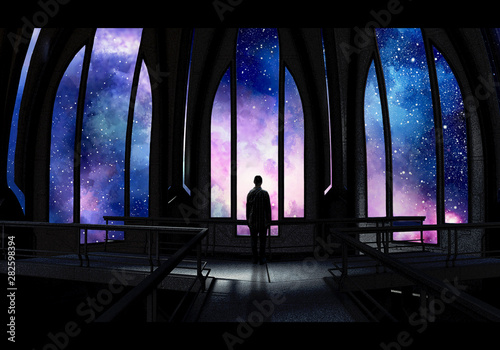 Obraz Artistic Digital Paint Of A Stand Alone Man In a Castle Looking At A Colorful Nebula View Artwork - fototapety do salonu