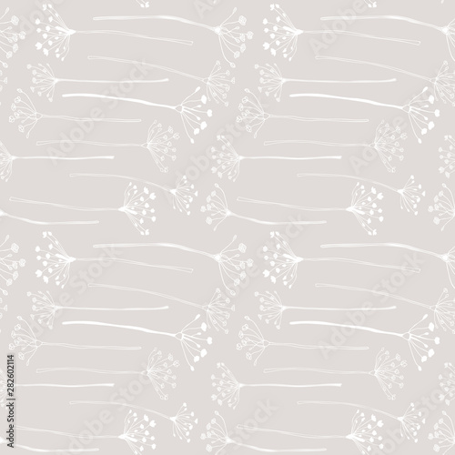 Fotografiet  Botanical floral vector seamless pattern with hand drawn herbs, plants, flowers and leaves